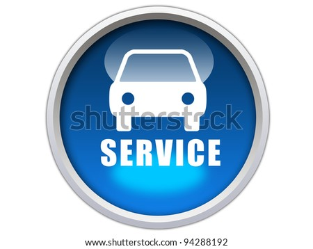 blue glossy button with white car icon and service word isolated over white background - stock photo