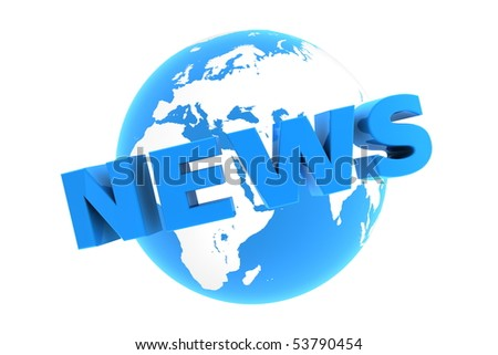 blue glossy word news is wrapped in front of a blue glossy globe - stock photo