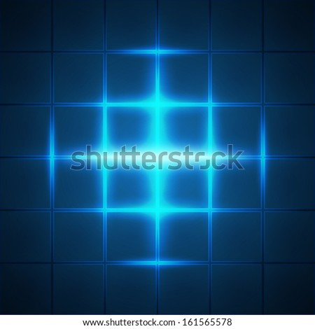 Blue glowing grid squares abstract background - stock photo