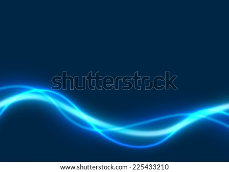 Blue Glowing Lines - Colored Abstract Illustration