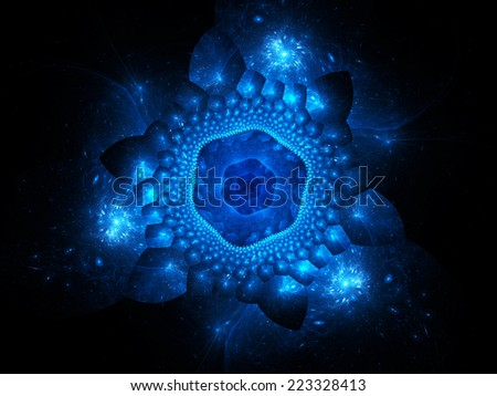 Blue glowing nano particles in space, computer generated abstract background