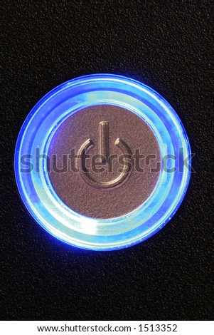 blue glowing power button - computer or any device is on - stock photo