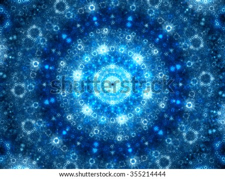 Blue glowing spherical fractal artwork, computer generated abstract background