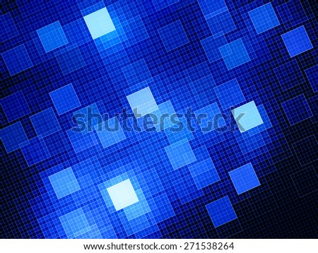 Blue glowing squares in space, computer generated abstract background - stock photo