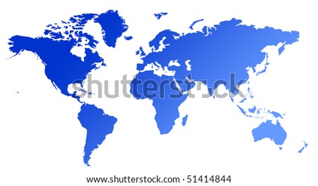 Blue gradient map of World or Planet Earth, isolated on white background.