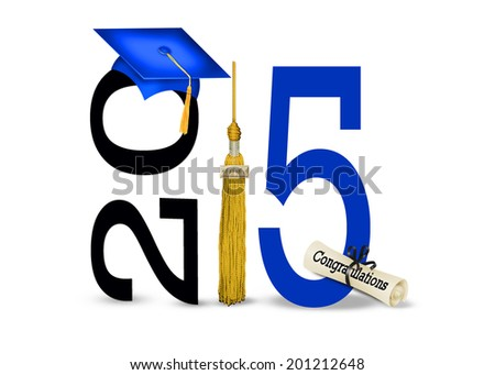 blue graduation cap with gold tassel and diploma for class of 2015 isolated on white background - stock photo