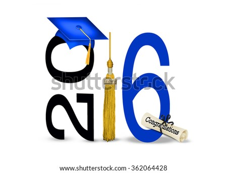 blue graduation cap with 2016 gold tassel isolated on white