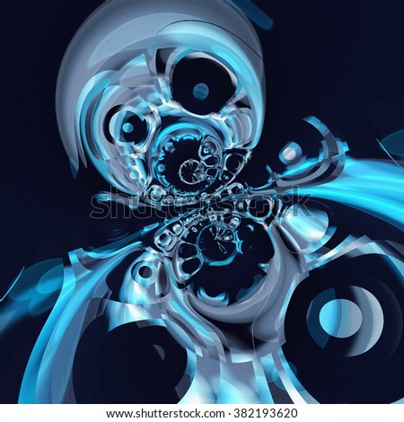 Blue graphic robot abstract on dark background