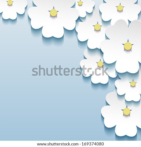 Blue - gray floral abstract background, 3d flowers sakura. Stylish trendy background. Raster version - stock photo