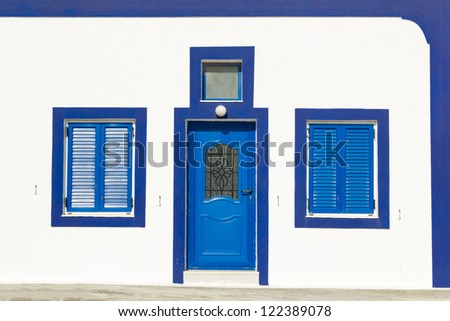 Blue Greek door and windows - stock photo