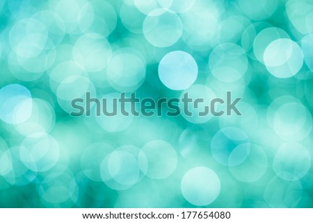 Blue, green and turquoise festive background with bokeh defocused lights, vintage mint colors - stock photo