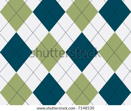Blue, green and white argyle
