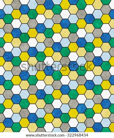 Blue, Green and Yellow Hexagon Mosaic Abstract Geometric Design Tile Pattern Repeat Background that is seamless and repeats - stock photo