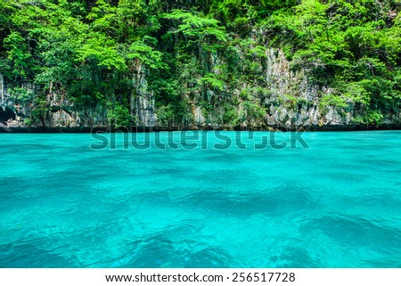 blue green bay and cliff - stock photo