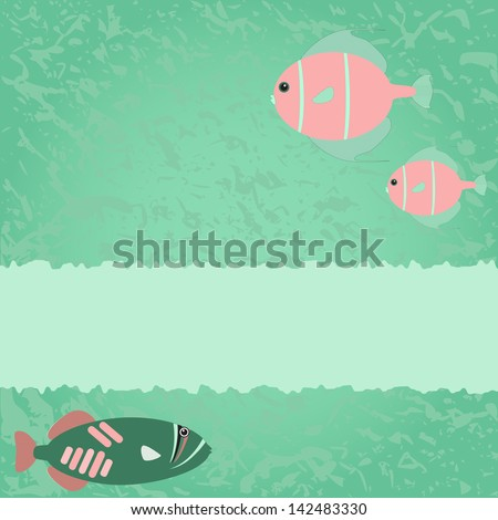 Blue-green card with fish and place for text. Raster version. - stock photo