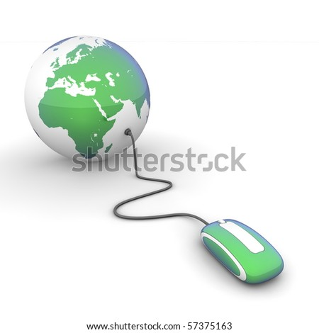 blue-green glossy computer mouse connected to a blue-green glossy globe - stock photo