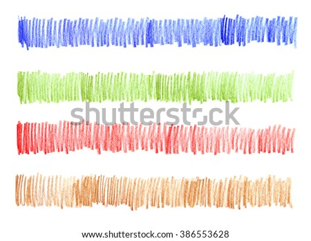 Blue, green, red, brown. Crayons. Texture wax pencil. Hand drawn background. Abstract colored frame. Isolated on white background. Strokes, lines, zigzag. Hatching painted. Set chalk brushes. - stock photo