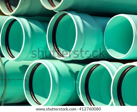 Blue green sewage pipes