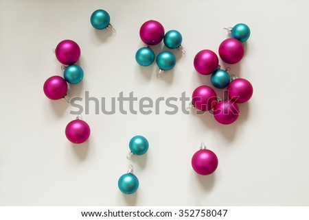 Blue, green, silver and pink Christmas Bulbs decoration