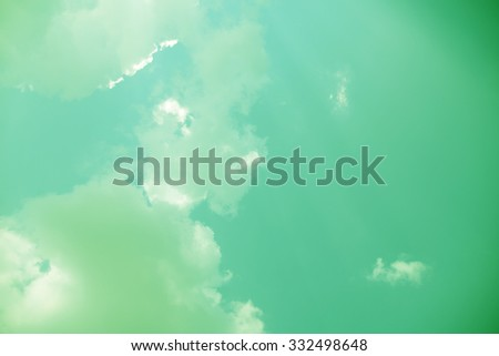 blue green sky background with white cloud - stock photo