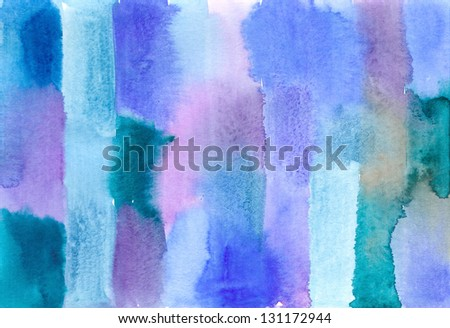blue green striped abstract watercolor image - stock photo