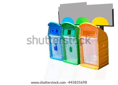 Blue , Green , Yellow recycle bin ,trash bin with banner on white background, clipping path - stock photo