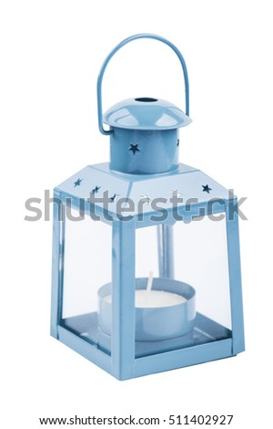 Blue grey lantern isolated on white background