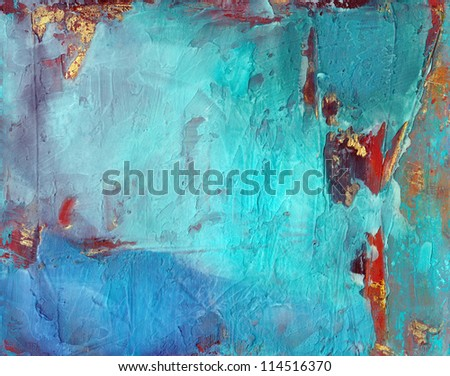 Blue grunge abstract textured background with gold and rust. - stock photo