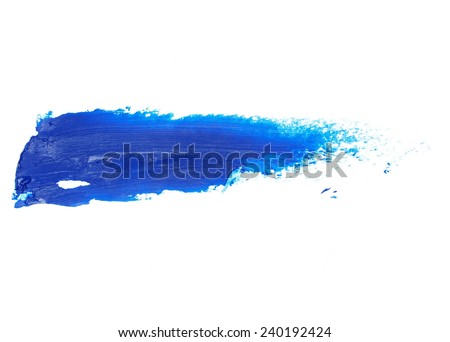 blue grunge brush strokes oil paint isolated on white background - stock photo