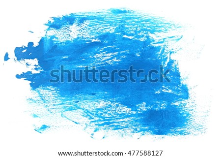 blue grunge brush strokes oil paint isolated on white background