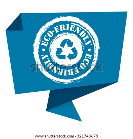 Blue Grunge Eco-Friendly Paper Origami Speech Bubble or Speech Balloon Infographics Sticker, Label, Sign or Icon Isolated on White Background - stock photo
