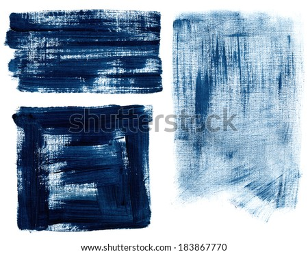 Blue grunge texture. Background painted by brush. - stock photo