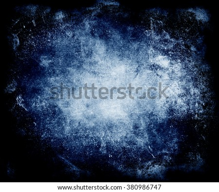 Blue Grunge Vintage Scratched Wall Background, Distressed Halloween Texture