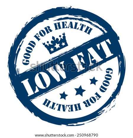 Blue Grungy Low Fat Good For Health Sticker, Icon or Label Isolated on White Background  - stock photo