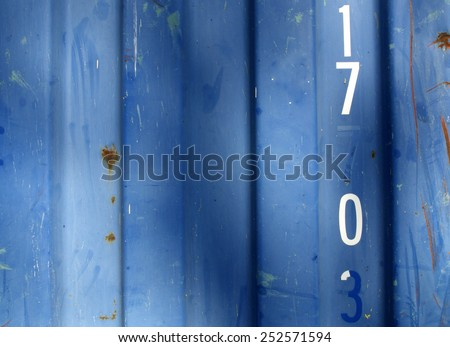 Blue grungy,  steel barrack wall texture background (with number 17 0) - stock photo