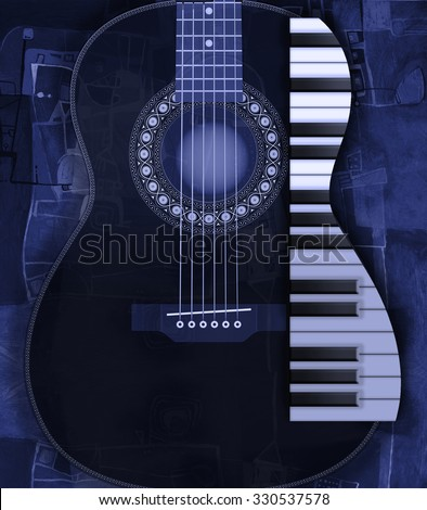 Blue guitar music poster - stock photo