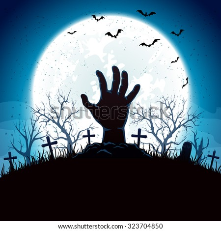 Blue Halloween background with hand on cemetery and Moon, illustration.