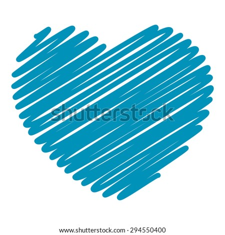 Blue Hand Drawn Heart Isolated on White Background