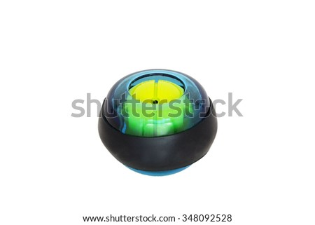 Blue hand expander power ball isolated - stock photo