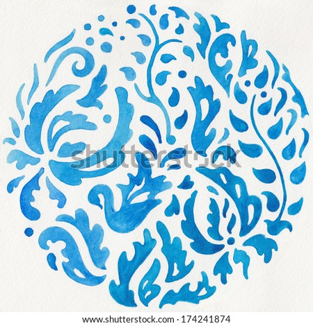 Blue hand painted watercolor background with floral motif - stock photo