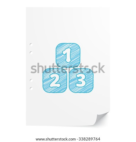 Blue handdrawn 123 Blocks illustration on white paper sheet with copy space - stock photo