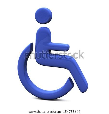 Blue handicap icon, 3d  - stock photo
