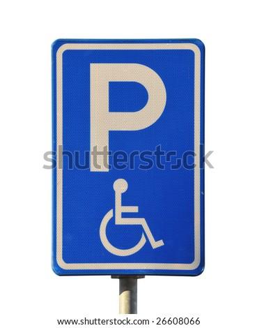 Blue handicap parking or wheelchair parking space - stock photo
