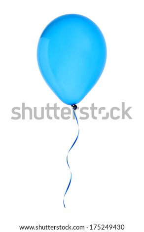 blue happy air flying balloon isolated on white background - stock photo