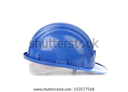 Blue hard hat. - stock photo