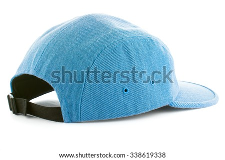 Blue Hat With Copy Space Isolated on White Background.