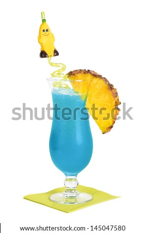Blue Hawaii Cocktail Made of rum, pineapple juice, blue orange liqueurs and sweet and sour mix. If it contains creme of coconut instead of sweet and sour mix, it is called Blue Coconut. - stock photo