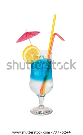 Blue Hawaiian cocktail isolated on white - stock photo