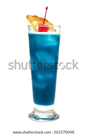 Blue Hawaiian cocktail isolated on white background - stock photo