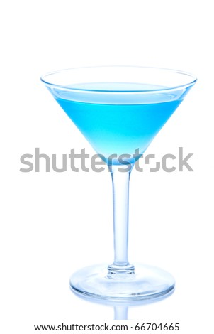 Blue Hawaiian Cocktails with cold vodka, light rum, gin, tequila, blue curacao, lime juice in martini glass isolated on a white background - stock photo
